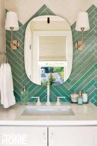 Bathroom with teal tile