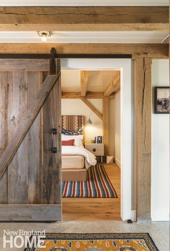 Sliding barn door into a guest room