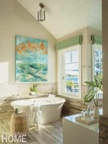 Bathtub with a coastal view.