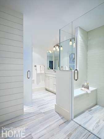 All white main bathroom