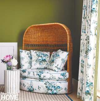 The wicker settee adds whimsy to the mix.