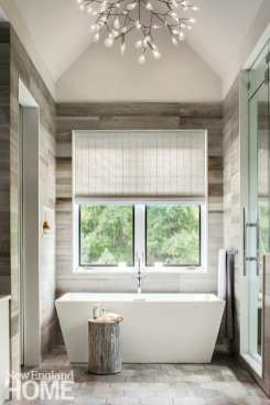 Bathtub in front of a large window