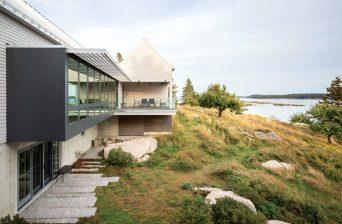 Exterior of contemporary coastal Maine home.