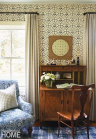 Blue and white patterned wallpaper and a grasscloth wrapped mirror.