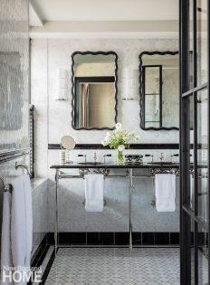 Black and white main bathroom.