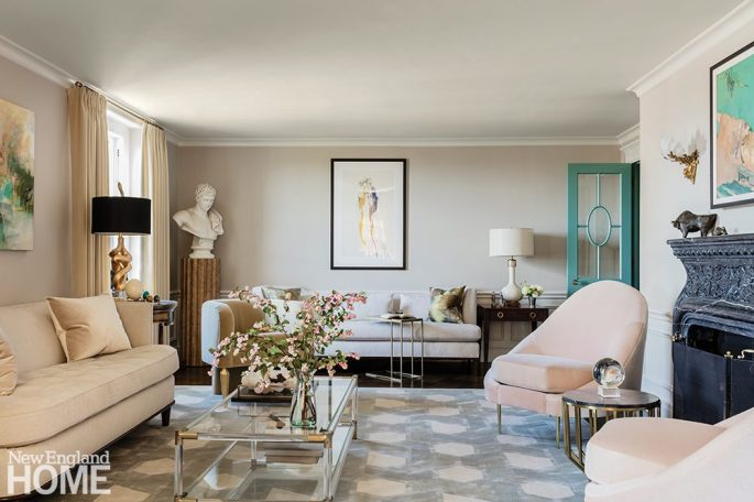 Salon style living room in a neutral palette.
