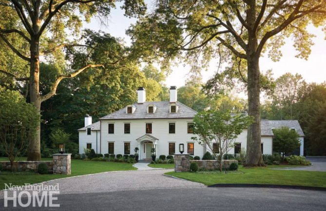 Grand white colonial style home in Connecticut