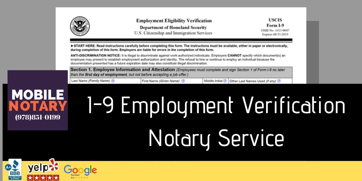 I-9 Form Notary Service Boston MA