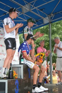 Andrew Bajadali on the podium at the 2009 US Pro road race