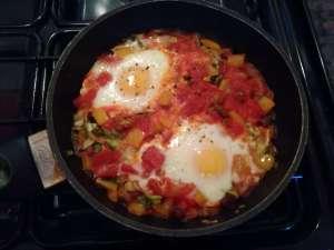 Cooking Huevos Rancheros