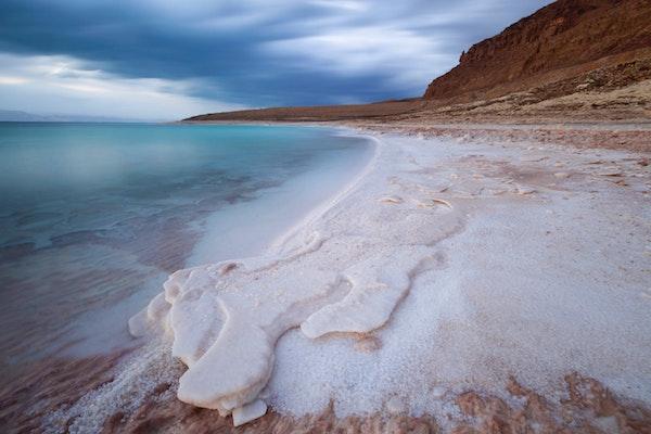 sea salt accumulated on a beach