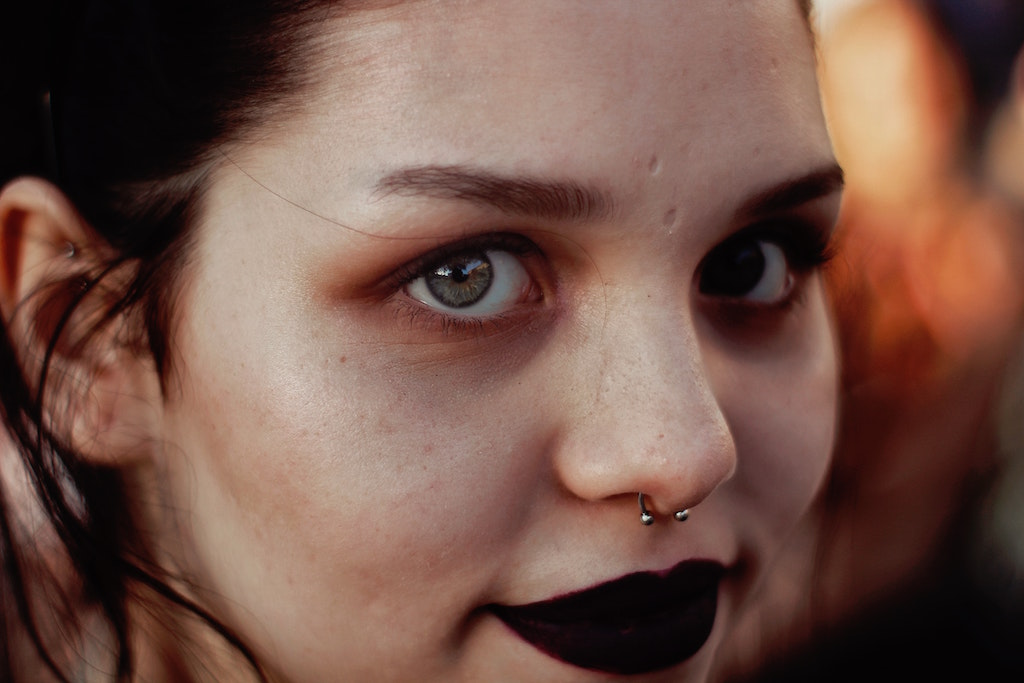 woman with septum piercing