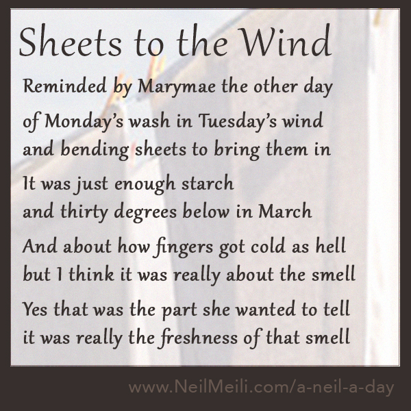 Reminded by Marymae the other day  of Monday's wash in Tuesday's wind and bending sheets to bring them in  It was just enough starch and thirty degrees below in March  And about how fingers got cold as hell but I think it was really about the smell  Yes that was the part she wanted to tell it was really the freshness of that smell