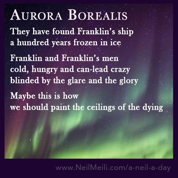 They have found Franklin's ship a hundred years frozen in ice  Franklin and Franklin's men cold, hungry and can-lead crazy blinded by the glare and the glory  Maybe this is how  we should paint the ceilings of the dying