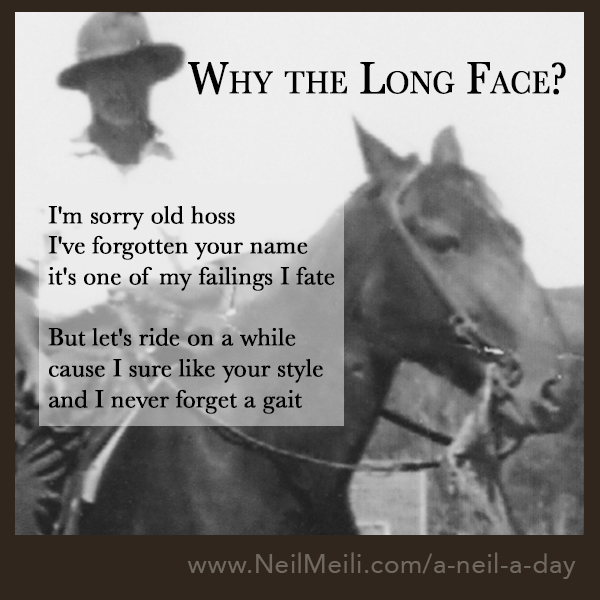 I'm sorry old hoss I've forgotten your name it's one of my failings I fate    But let's ride on a while cause I sure like your style and I never forget a gait