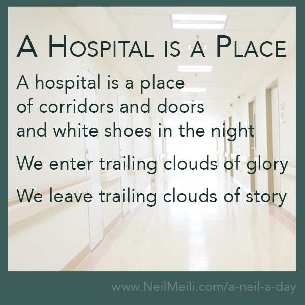 A hospital is a place of corridors and doors and white shoes in the night  We enter trailing clouds of glory  We leave trailing clouds of story