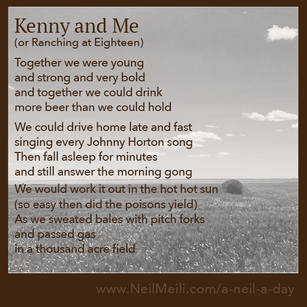 Ranching at Eighteen Together we were young and strong and very bold and together we could drink more beer than we could hold  We could drive home late and fast singing every Johnny Horton song Then fall asleep for minutes and still answer the morning gong  We would work it out in the hot hot sun (so easy then did the poisons yield) As we sweated bales with pitch forks and passed gas in a thousand acre field