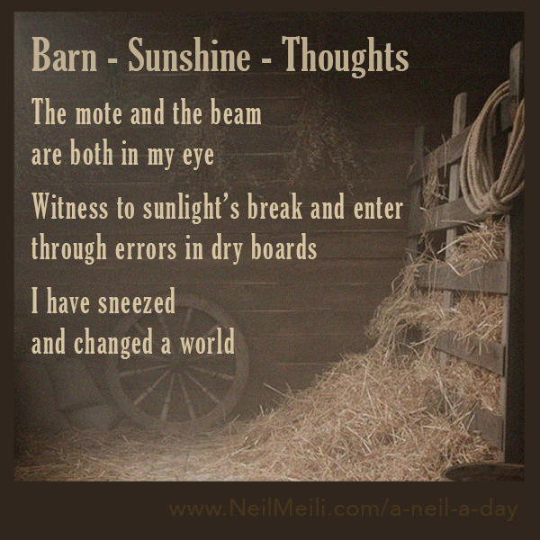 The mote and the beam  are both in my eye  Witness to sunlight's break and enter through errors in dry boards  I have sneezed  and changed a world