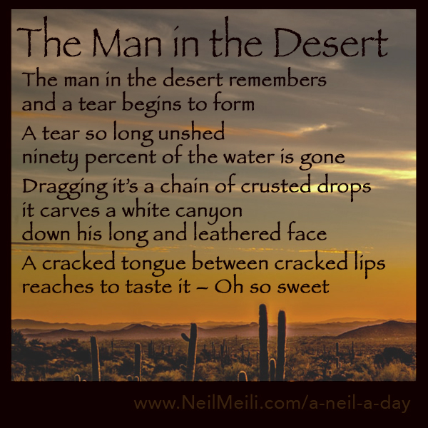 The man in the desert remembers and a tear begins to form  A tear so long unshed ninety percent of the water is gone  Dragging it's a chain of crusted drops it carves a white canyon down his long and leathered face  A cracked tongue between cracked lips reaches to taste it – Oh so sweet