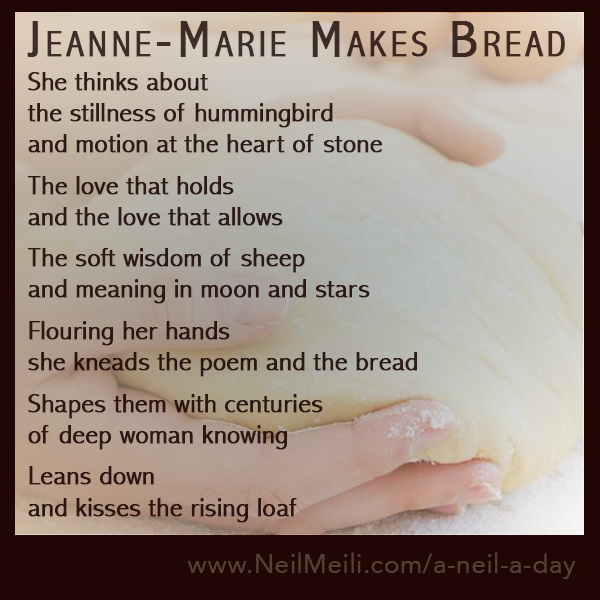 She thinks about the stillness of hummingbird and motion at the heart of stone  The love that holds and the love that allows  The soft wisdom of sheep and meaning in moon and stars  Flouring her hands she kneads the poem and the bread  Shapes them with centuries of deep woman knowing  Leans down and kisses the rising loaf