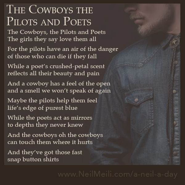 The Cowboys, the Pilots and Poets The girls they say love them all  For the pilots have an air of the danger of those who can die if they fall  While a poet's crushed-petal scent reflects all their beauty and pain  And a cowboy has a feel of the open and a smell we won't speak of again  Maybe the pilots help them feel life's edge of purest blue  While the poets act as mirrors to depths they never knew  And the cowboys oh the cowboys can touch them where it hurts  And they've got those fast snap button shirts