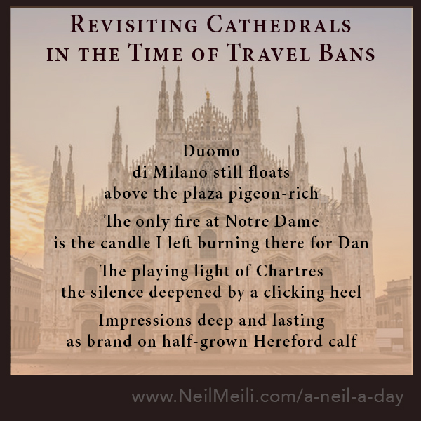 Duomo  di Milano still floats  above the plaza pigeon-rich  The only fire at Notre Dame is the candle I left burning there for Dan  The playing light of Chartres the silence deepened by a clicking heel  Impressions deep and lasting as brand on half-grown Hereford calf