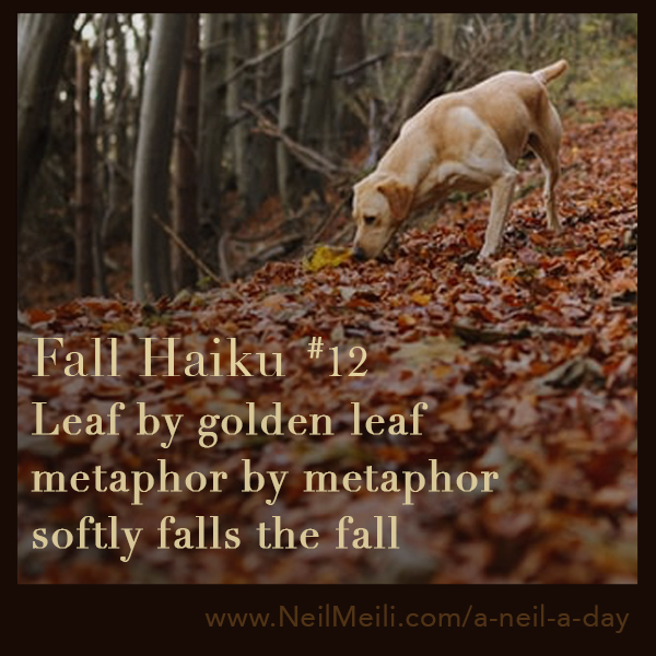 Leaf by golden leaf metaphor by metaphor softly falls the fall