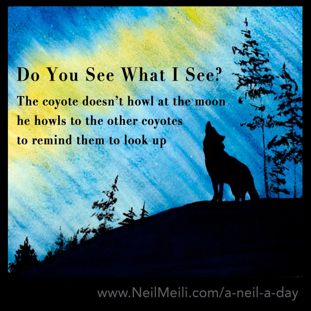 The coyote doesn't howl at the moon he howls to the other coyotes to remind them to look up