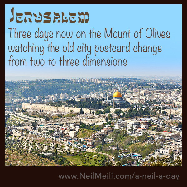 There days now on the Mount of Olives watching the old city postcard change from two to three dimensions