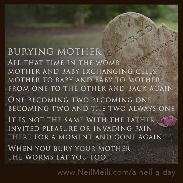 All that time in the womb mother and baby exchanging cells mother to baby and baby to mother from one to the other and back again One becoming two becoming one becoming two and the two always one It is not the same with the father invited pleasure or invading pain there for a moment and gone again When you bury your mother the worms eat you too