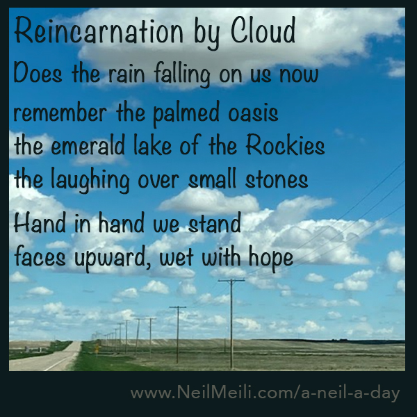 Does the rain falling on us now remember the palmed oasis the emerald lake of the Rockies the laughing over small stones Hand in hand we stand faces upward, wet with hope