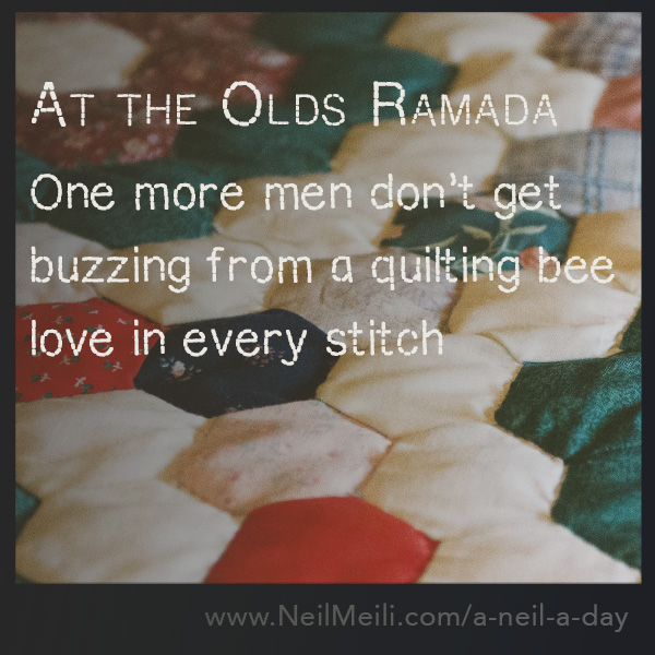 One more men don't get buzzing from a quilting bee love in every stitch