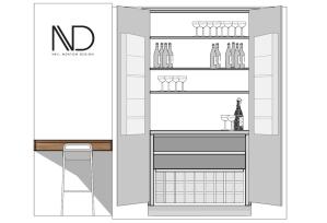 solid walnut drinks cabinet design