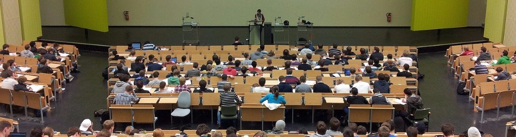 a school seminar room full of students