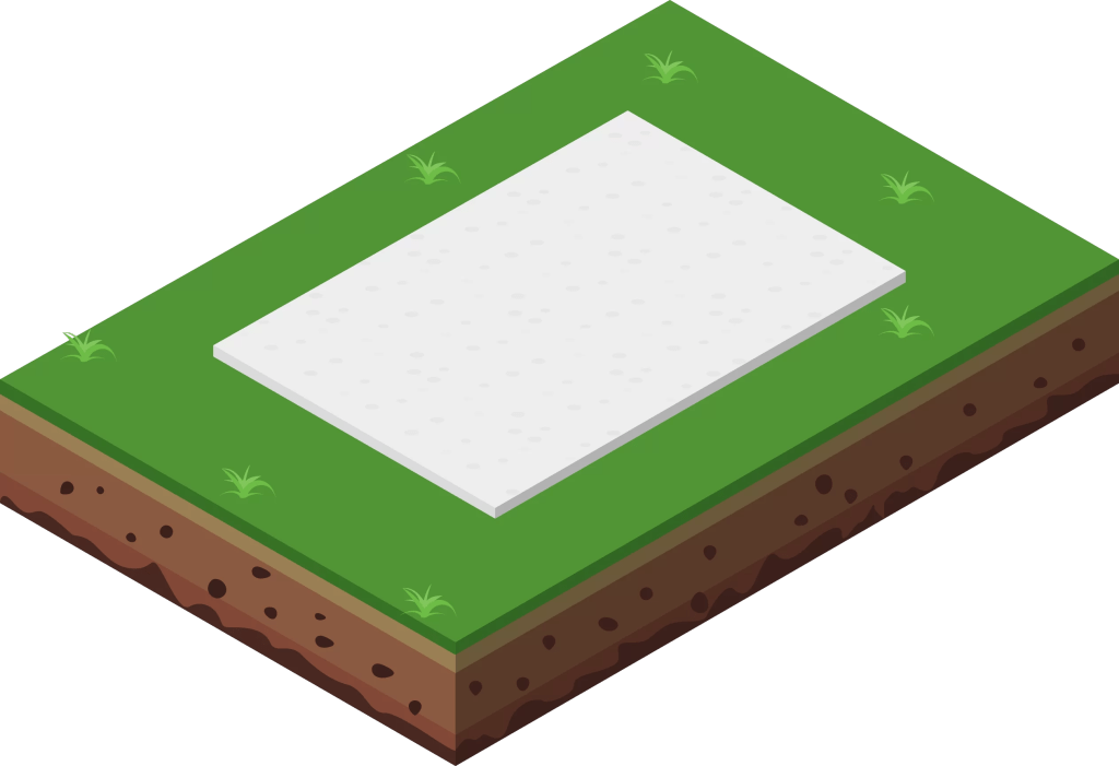 illustration of a concrete base for a shed.