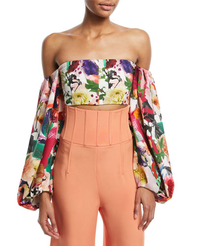 Carlita Off-the-Shoulder Floral-Print Crop Top