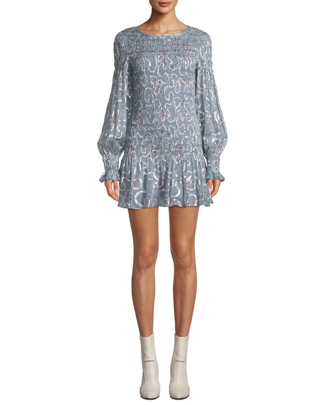 3fa22833d4d ...  498.00 – Neiman Marcus – Scarlett Smocked Metallic Mini Dress –  495.00