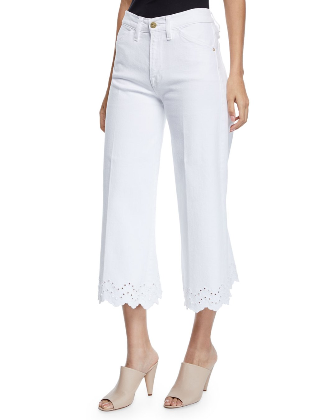 sports shoes c7393 0fb5f Neiman Marcus – Schiffly Vintage High-Rise Cropped Jeans with Eyelet Hem –   265.00