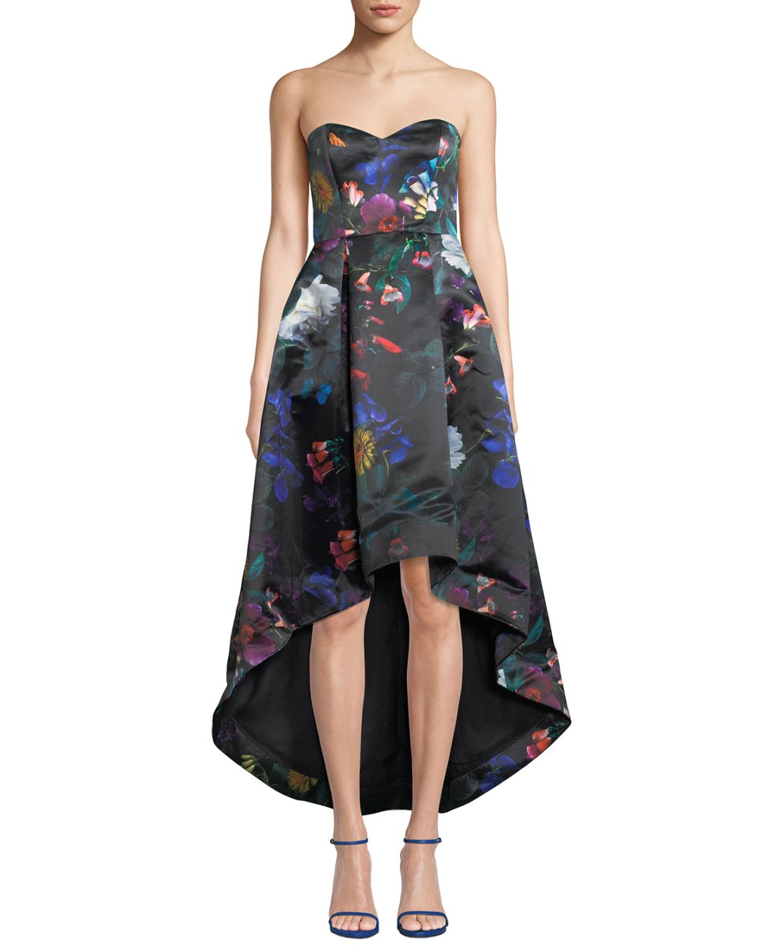 10c23488e84b0 Neiman Marcus – Roxanne Strapless High-Low Floral Satin Dress – $365.00