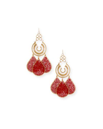 Quick Look Devon Leigh Red Teardrop Chandelier Earrings