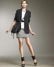 Theory Cotton Boyfriend Jacket, Stretch-Silk Top & Julie Skirt