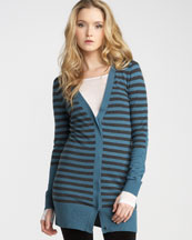 T26SV Juicy Couture Striped Merino Cardigan