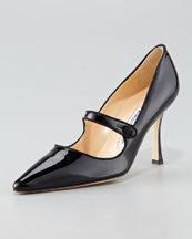 X3593 Manolo Blahnik Patent Leather Mary Jane, Black