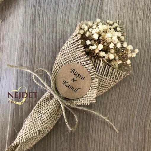 Çuval çiçek naturel doğal el buketi nikah şekeri