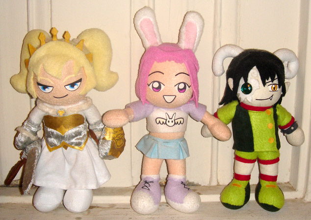 Left to right, Octavia, Kurumi, and Maya, all by Squisherific.