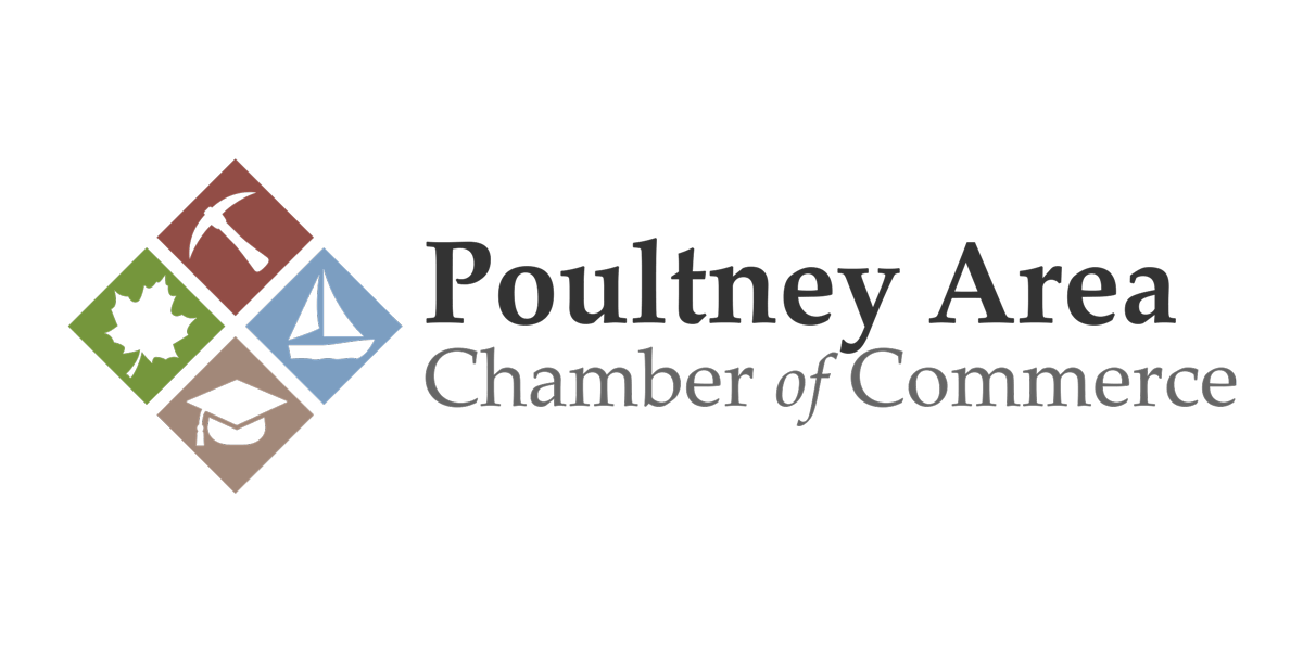 Poultney Area Chamber of Commerce Logo and Wordmark (2018)   Designed so that each diamond represents something our area is known for: Maple, Slate, Lake's Region, and Higher Education.