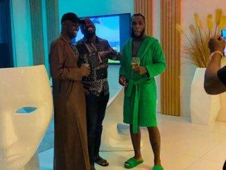 Billionaires, Obi Cubana and Jowizaza visits singer, Burna Boy in his crib (video)