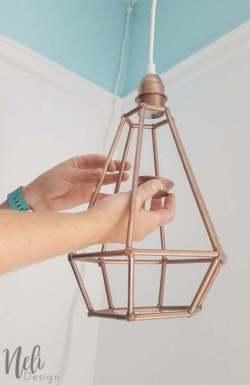Geometric pendant light   DIY   Dowels lampshade   cheap, easy and affordable   Tutorial   instructions   $100 Room Challenge   Lampe suspendue géométrique   abat-jour   facile, pas cher   Coin lecture   Reading Nook  
