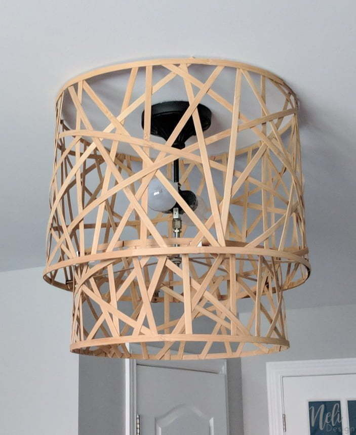 How to upgrade a ceiling light shade for free. Get rid of the boob light and get a beautiful light fixture. You just need to upcycle one thing to get this new lamp shade. Full step by step tutorial so you can make this idea. #lampshade #lightfixture #ceilinglight #diy #upcycle
