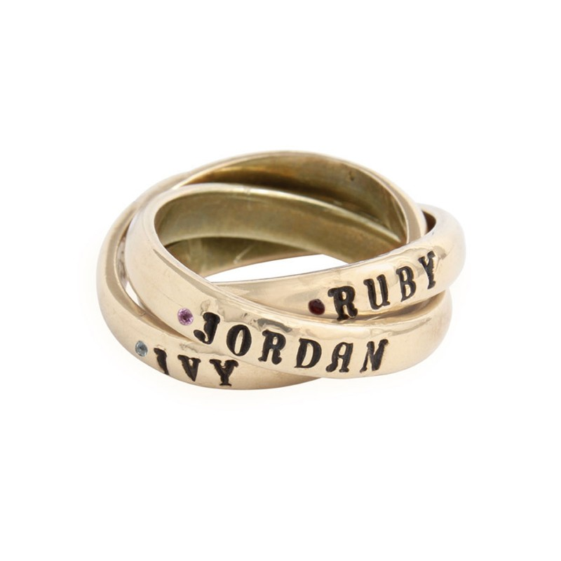 Personalized 14K Gold Birthstone Rings With Flush